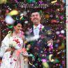 Lancio del riso e stelle filanti al matrimonio
