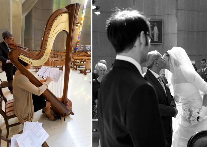Arrivo della sposa acompagnata dal padre sull'altare, con sottofondo musicale di violino e arpa
