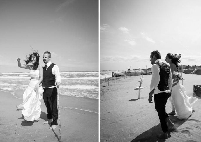 Passeggiata degli sposi sulla spiaggia di Chioggia