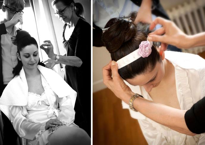 Fotografia dell'acconciatura della sposa