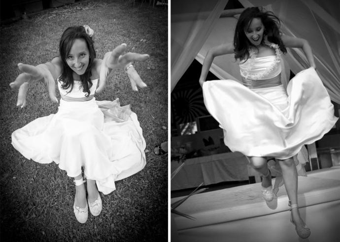 La sposa gioca e salta di gioia