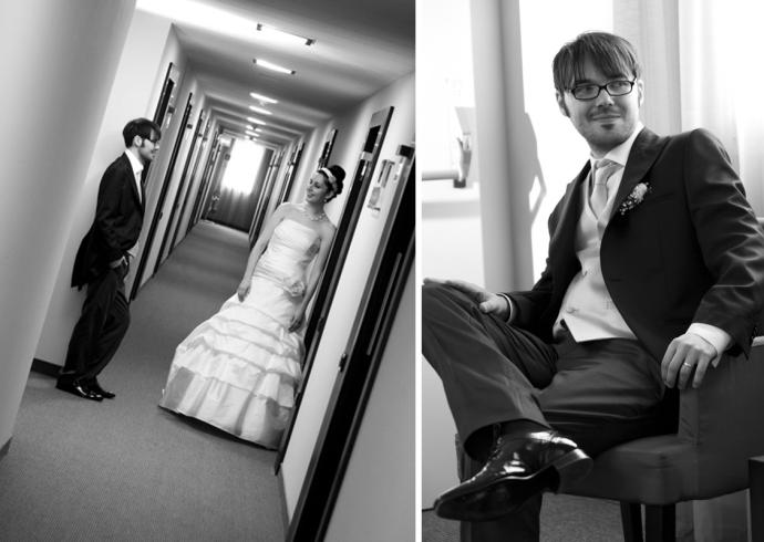 Fotografia degli sposi all'interno del Sweet Hotel Vicenza