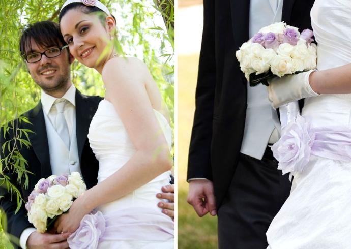Fotografia degli sposi sotto il salice
