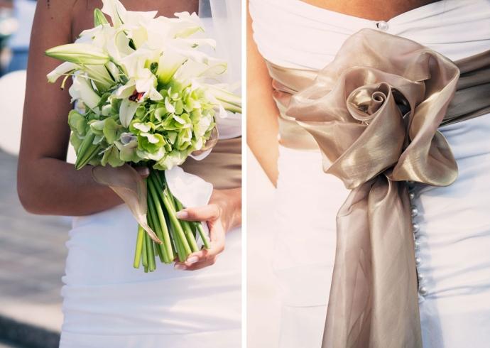 I particolari dell´abito da sposa e fotografia del bouquet