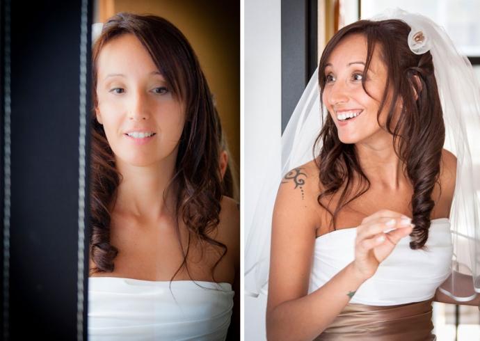 Foto della sposa all'uscita di casa