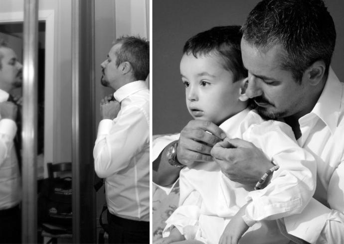 Padre e figlio si preparano per il matrimonio
