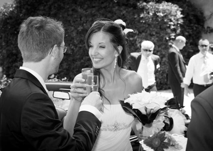 Fotografia reportage all'arrivo degli sposi in Villa