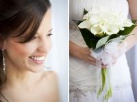 Sposa sorridente durante la preparazione