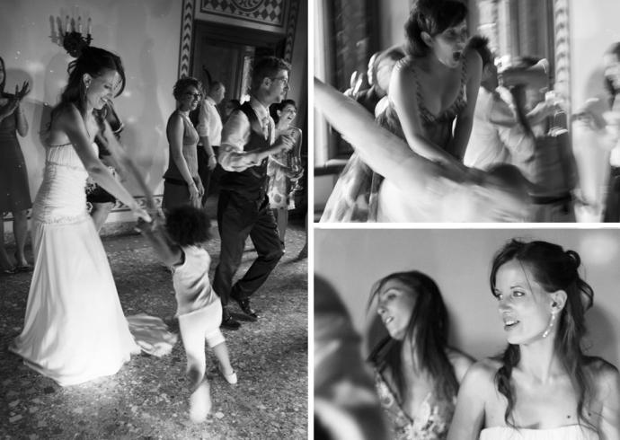 Gli amici degli sposi si diverto al ballo a Padova