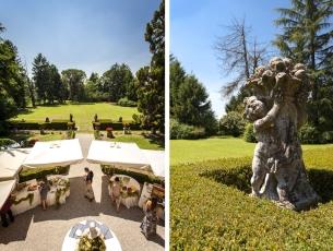 Giardino allestito per il ricevimento di matrimonio