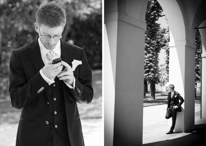 Attesa dello sposo prima della cerimonia