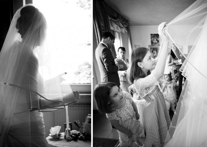 Suggestiva fotografia della sposa in controluce