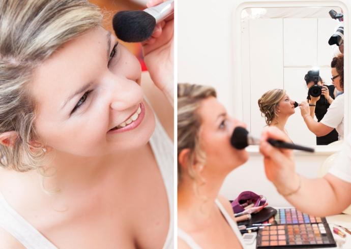Fotografo a casa della sposa durante il makeup