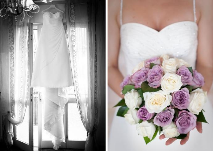 L'abito della sposa e bouquet di rose lilla