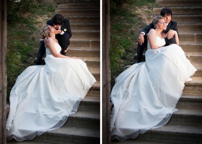 Sposi sulle scalinate della Villa Moschini Rossi a Padova