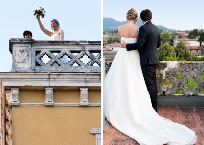 Sposi sulla torre per il lancio del bouquet
