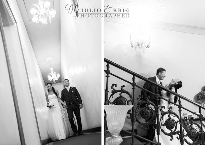 Gli sposi salgono le scale a Villa Ducale