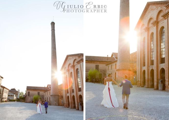 fotografia degli sposi al tramonto in location