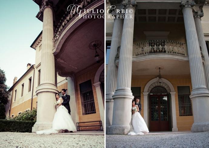 Fotografia degli sposi sotto le colonne